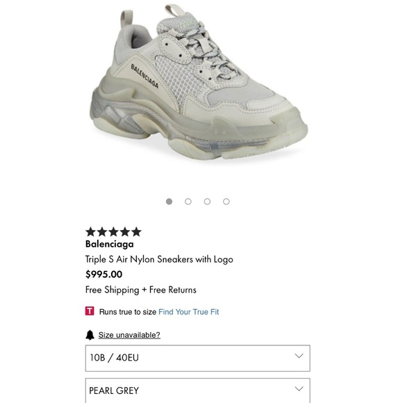BALENCiAGA TRiPLE S Pearl Grey Clear Sole Sneakers UK 11 iT